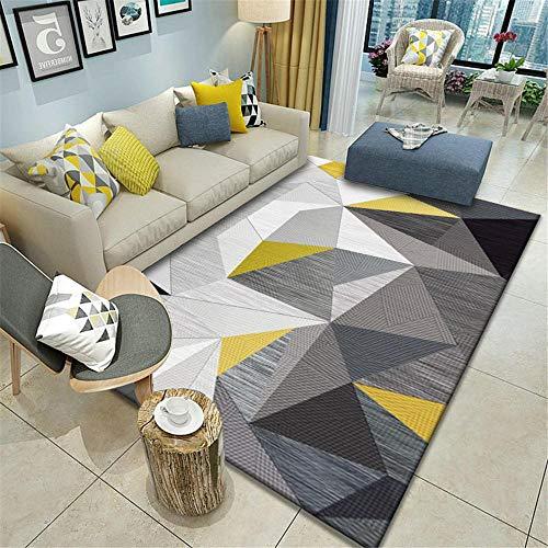 Alfombras Alfombra Verano Alfombra Moderna con patrón de triángulo geométrico a Rayas Gris Negro Amarillo mesas de Centro de Sala alfombras decoración para Dormitorio de bebé 60*120cm