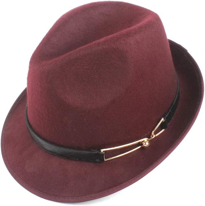 HHF Caps & Hats Women's Lady Wool Polyester Felt Hat, Men's Elegant Fedora Hat, Autumn Winter Church Jazz Punk Belt Hat (Color : Wine red, Size : 58cm)