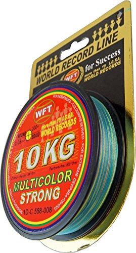 WFT KG STRONG Schnur 300m 0,08mm 10kg, Angeln auf Raubfisch, Raubfischschnur, Meeresschnur, Schnur zum Spinnfischen, Angelnschnur für Raubfisch, Farbe:multicolor