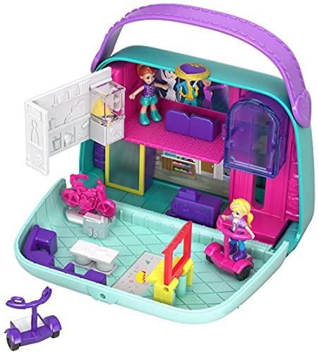 Polly Pocket GCJ86 Coffret Univers le Sac à Boutiques avec 2mini-figurines et Accessoires, Autocollants et 5 Surprises Cachées, Jouet Enfant, Multicolore