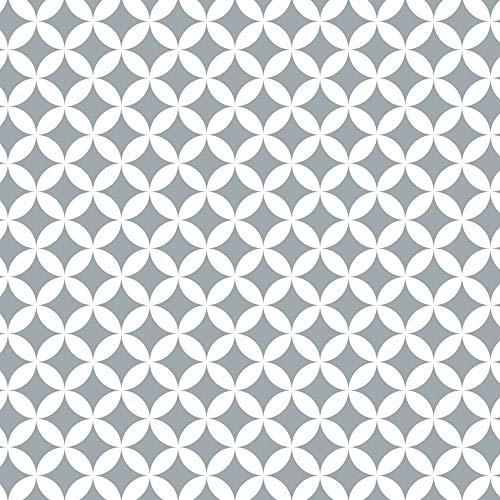 Venilia Film adhésif Monica gris, motif géométrique rétro, film décoratif, film pour meubles, papier peint, film autocollant, PVC, sans phtalates, 67,5 cm x 1,5 m, épaisseur 0,095 mm, 54775