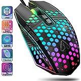 Gaming Maus PC Maus RGB - Gaming Mouse Computer Maus mit Kabel Computermaus Gamer Maus Gaming 7 Programmierbaren Tasten 6 Einstellbar 8000 DPI USB Mäuse für Laptop Pc Windows Mac OS Linux (Schwarz)