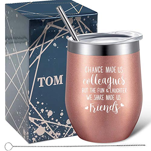Tom Boy Gifts for Coworkers Women- Chance Made Us Colleagues- Going Away Gifts, Coworker Leaving Gifts, Christmas Gifts for Coworkers Wine Tumbler 12oz
