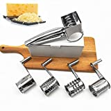 Rallador de queso de acero inoxidable, rallador de queso rotatorio de acero inoxidable, trituradora de mano, con 4 cuchillas de tambor intercambiables, para queso, vegetales, nueces (1set)