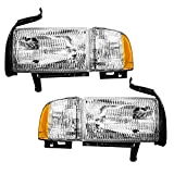 Driver and Passenger Headlights Headlamps with Corner Lamp Replacement for Dodge Pickup Truck 55076749AD...