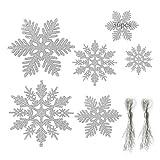 Anyingkai 36pcs Copo de Nieve Navidad,Copo de Nieve Navidad Plástico Colgante,Nieve para Arbol de Navidad,Copo de Nieve Decoracion,Adornos Arbol Navidad Copo de Nieve (Plata-B)