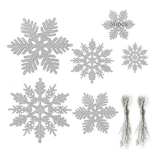 Anyingkai 36pcs Copo de Nieve Navidad,Copo de Nieve Navidad Plástico Colgante,Nieve para Arbol de Navidad,Copo de Nieve Decoracion,Adornos Arbol Navidad Copo de Nieve (Plata)
