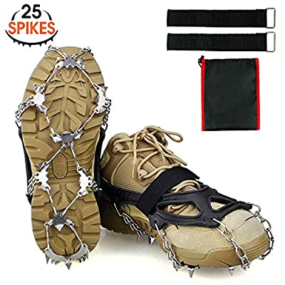 Ykall 25 Spikes Crampons Ice Cleats Traction Snow Grips for Boots Shoes,Anti-Slip Stainless Steel Spikes,Microspikes for for Hiking Fishing Walking Climbing Mountaineering (XL)