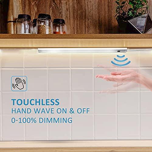 Luce LED Sottopensile Cucina con Sensore, 30cm 5w 300lm Dimmerabile Barra LED Ultra Sottile Luci Sotto Pensili Presa USB Collegabili Lampada Armadio con Adesiva per Sottopiano Sotto il Mobile 3000K