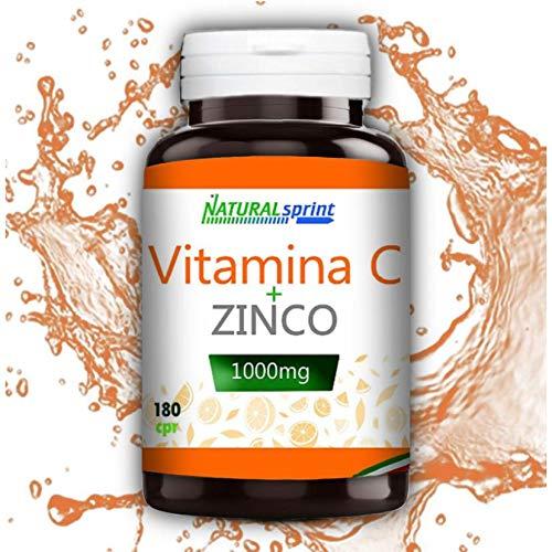 Natural Sprint - Integratore Vitamina C 1000mg lento rilascio + Zinco - 180 Compresse - Made in Italy