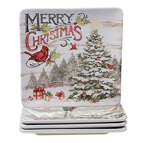 Certified International Evergreen Christmas 10.5' Dinner Plates, Set of 4, Multicolored