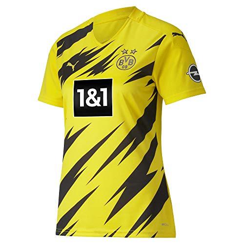PUMA Damen T-Shirt BVB Home Shirt Replica Womens SS w.Sponsor New, Cyber Yellow-Puma Black, S, 931116