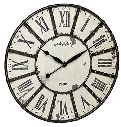 TFA-Dostmann 60.3039.02 Horloge Murale, Métal, Schwarz/weiß, 60 x 60 x 4,5 cm