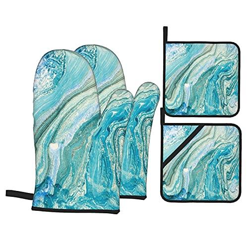 Manoplas de horno de cocina con piedra azul pintadas al óleo, resistentes al calor, con guantes antideslizantes a prueba de horno y soportes para ollas para hogares de cocina, horno y microondas