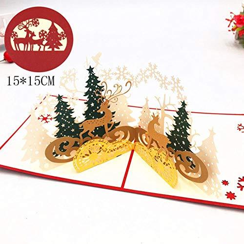PLMM Frohe Weihnachten Karten Weihnachtsbaum 3D Pop Up Karten Weihnachtsdekoration Winter Cut Gruß Weihnachtskarten, Weihnachtssilhouette