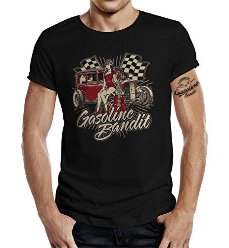 Design, Rockabilly Racer Hot Rod T-Shirt: Guitar Pinup XL