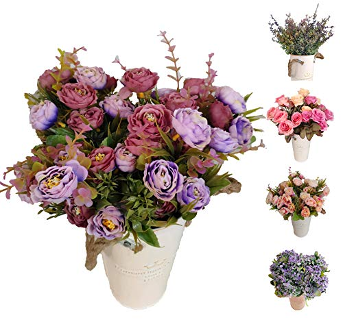 Flores Artificiales Roses Decoración Hogar Jardín Hotel Tienda Ideal para la Boda Fiestas Eventos (Azul, Pack 3 Ramos)