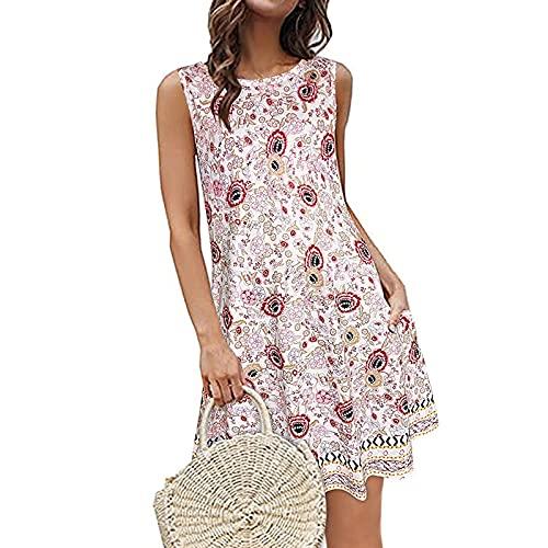 Vestido de verano para mujer, sin mangas, estilo bohemio, estampado, minivestido, con bolsillos, informal, multicolor, moderno, elegante, suelto, Rosa., M