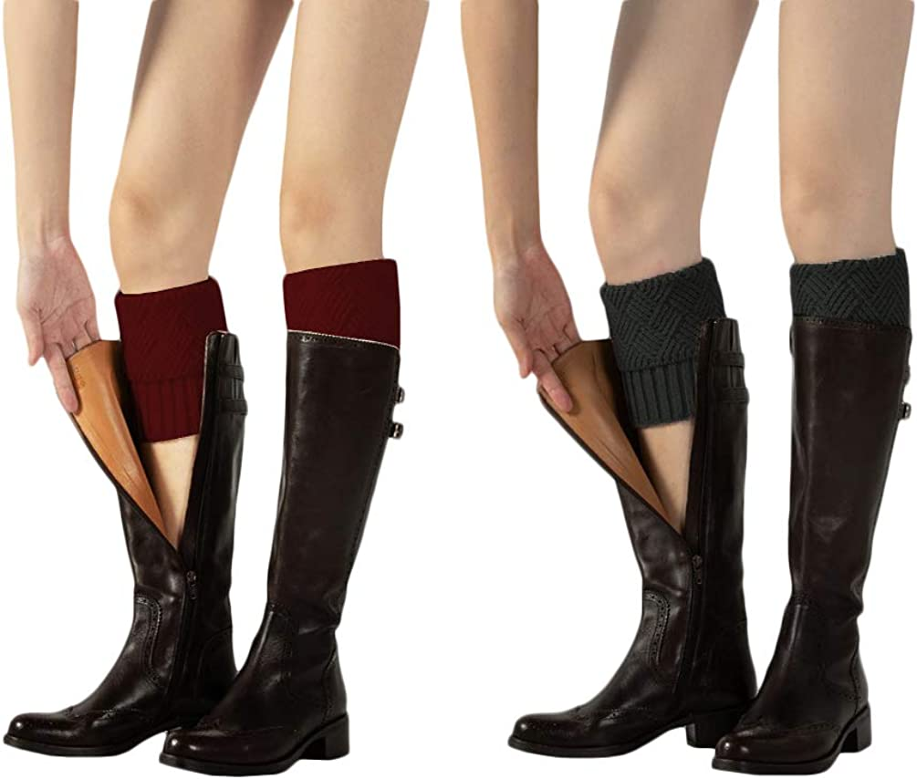 Santwo Womens Crochet Knitted Short Leg Warmers Winter Boots Cuffs Socks 2 Pairs