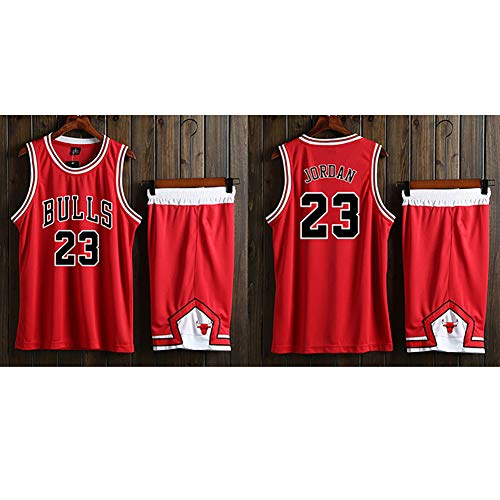 WWJIE Chicago Bulls # 23 Michael Jordan Basketball-Uniformen, Herren Trainingsanzüge Basketball-Westen Tops/Short Suits atmungsaktive Feuchtigkeit schnell trocknende Stoffe.-L