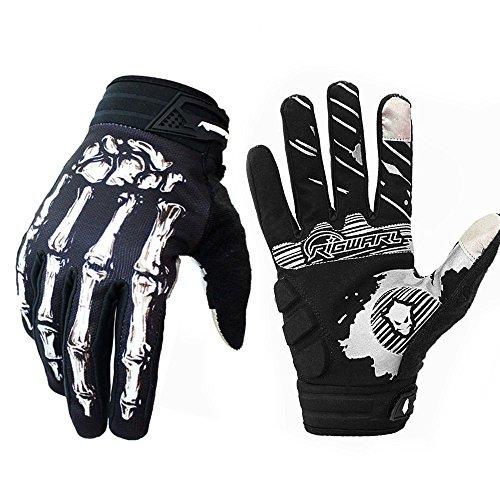 Bicicleta de montaña guantes de montar guantes de motocicleta guantes de motocicleta guantes de pantalla táctil de dedo completo hombres y mujeres moda deportiva guantes de esqueleto (New Bianco, L)