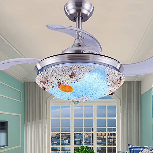 W&HH 42'Retro Tiffany Fanáticos de tifón con Luces 4 Hojas de Metal inverso Control Remoto Ventilador de lámpara 3 Velocidad 3 Cambios de Color Cambios de Color Accesorios de iluminación de Techo,B