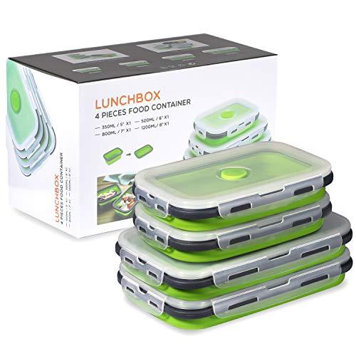 Faltbare Silikon-Lebensmittel-Aufbewahrungsbehälter mit Deckel, tragbare Lunch-Bento-Box, Picknick-Box, platzsparend, mikrowellen-, spülmaschinen- und gefriergeeignet, Set von 4 (grün, 800 + 1200 ml)