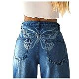 Briskorry Jeans da donna Baggy Y2K Style Jeans a vita alta, pantaloni in jeans dritti con gamba larga, alla moda Flare Flare pantaloni jeans per il tempo libero (blu3, S)