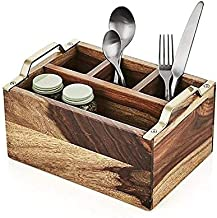 Nestroots Wooden Multi-Purpose Cutlery Holder/Stand for Dining Table, Brown