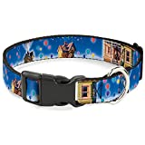 """Buckle-Down Plastic Clip Collar - Up Carl on Porch/Flying House/Balloons - 1"""" Wide - Fits 11-17"""" Neck - Medium"""
