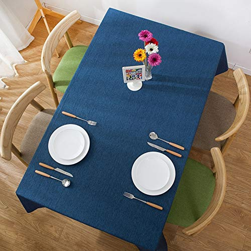 NO LOGO Hintergrundbild Sizing: 130 * 200cm (Kaffee), Advanced Concise Wasserdicht Flax Rechteck Habitation Hotel Table Cloth steckpuzzle mit (Color : Navy Blue)