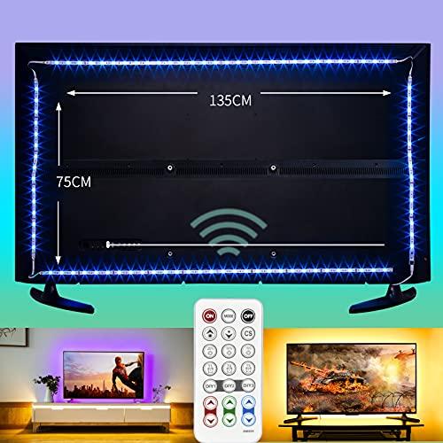 wobsion led strip tv hintergrundbeleuchtung,led fernseher beleuchtung,tv backlight,usb led strip,tv beleuchtung,RGB streifen 4M USB Beleuchtung für 60-75 Zoll LED Strip Dimmbar mit RF-Ferbedienun