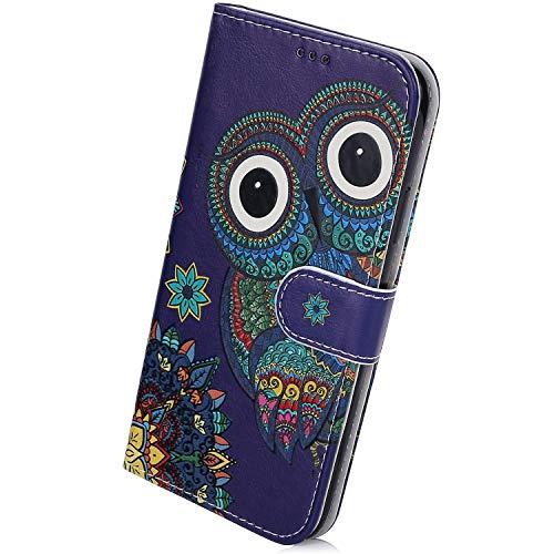 Herbests Kompatibel mit Samsung Galaxy S20 Ultra Handyhülle Leder Hülle Bunt Motiv Muster Leder Flip Schutzhülle Tasche Wallet Case Kartenfach Standfunktion Magnetverschluss,Eule Mandala Blumen