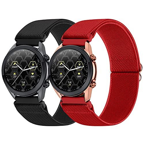 WNIPH 22 mm Pack 2 correas compatibles con Samsung Galaxy Watch/Huawei Watch/Garmin Watch/Ticwatch Watch/Fossil Watch, correas de nailon elásticas ajustables para deportes pulsera de repuesto