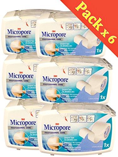 Pflaster Micropore, auf Abroller, 2,5cm x 9,14m, weiß, Set aus 6 Schachteln