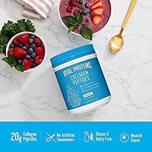 Vital Proteins Collagen Peptides Powder Supplement (Type I, III), Grass-fed Pasture-raised bovine Collagen, Hydrolyzed & Non-GMO, Dairy and Gluten Free - 20g per Serving - Unflavored 567g Canister
