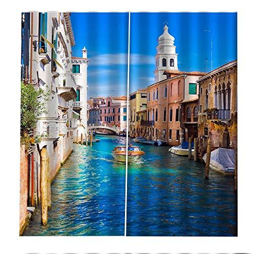CLYDX Tenda Termica Isolante Oscurante per Finestre e Balconi, Tende da Sole con Occhielli per Casa Moderna Facile da Installare 75x166 cm 2 Pannelli - Water City Venice