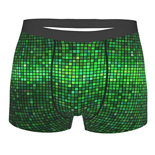 Männerunterwäsche,Grüner, abstrakter lebendiger quadratischer Pixel-Mosaik-Entwurfs-geometrischer Technologie-Theme-digitaler Gitterdruck, Boxershorts Atmungsaktive Komfortunterhose Größe XXl
