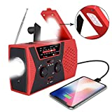 Emergency Solar Hand Crank Radio, Portable AM/FM NOAA Weather Radio for Outdoor and Household Emergency Device, LED Flashlight, Reading Lamp, 2000mAh Power Bank USB Charger
