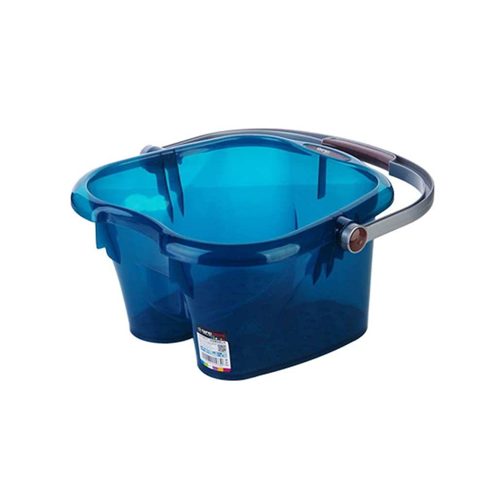 世界的にスキニーホバー北欧スタイルマッサージ浴槽ふたで洗うプラスチック足風呂樽洗浄バケツ健康ギフト (Color : Blue)