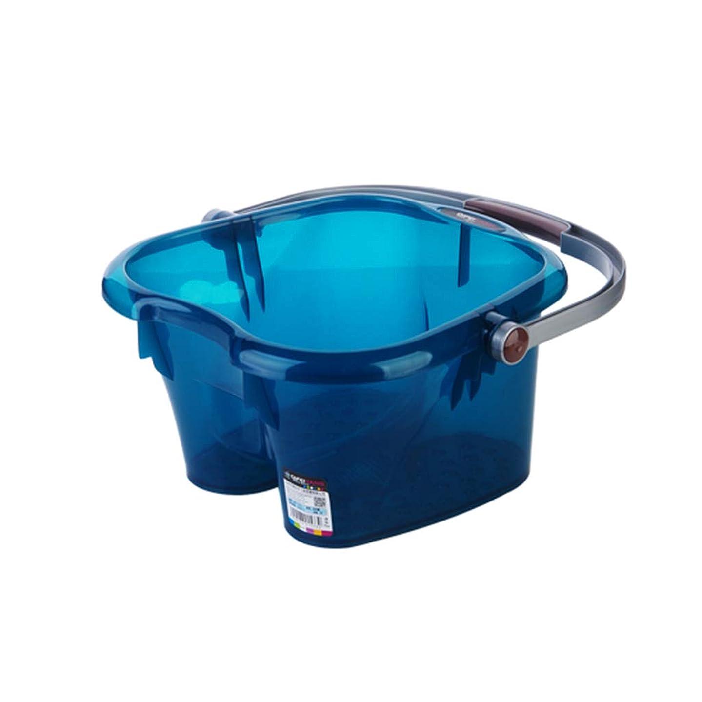 書き込みリマークサーバントポータブルプラスチックマッサージ浴槽ペディキュアデトックス足洗面台高さフットバスバレル世帯 (Color : Blue, Size : 30.3 high(with Lid))