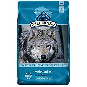 Blue Buffalo Wilderness High Protein, Natural Adult Large Breed Healthy Weight Dry Dog Food, Chicken 24lb