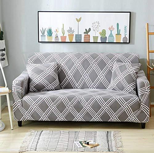 Estiramiento Funda de sofá 2 Plazas 1 Pieza Antideslizante Fundas Impresa para Sofas Sofás Cubre Sofá Ajustable Protector de Muebles 2 Fundas de Almohada Rombo Blanco Gris