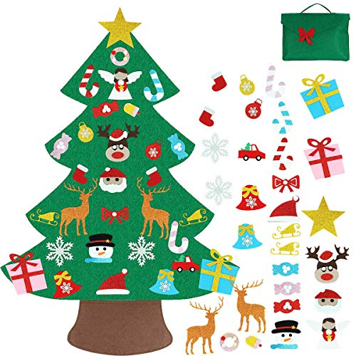 Vlovelife Felt Christmas Tree For Toddlers, Kids DIY Christmas Tree with 30pcs Hanging Ornaments & Storage Bag, Xmas Tree for Holiday Party Home Decor Kids Xmas Gift