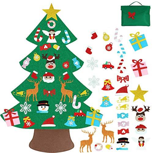 Filz Weihnachtsbaum mit 26 Abnehmbaren hängenden Ornamenten - DIY Dekoration Hängend Dekor für Kinde