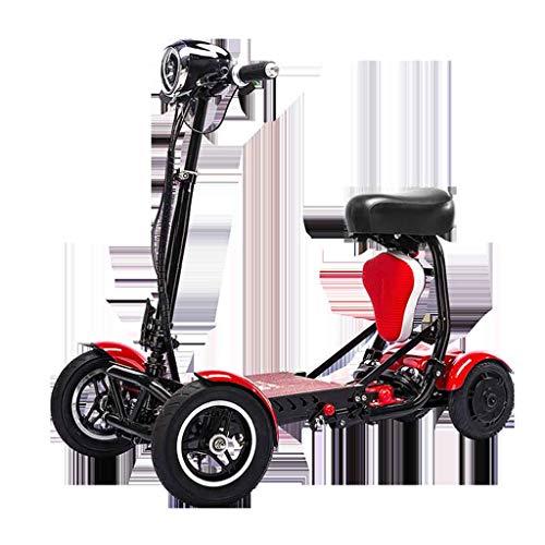 A&DW Scooter De Movilidad Portátil De 4 Ruedas, 250 Vatios X 2Motor Baterías De Litio De 36 V Rango De Crucero 28 Km, Bicicleta Motorizada Plegable Liviana para Niños Adultos,Red