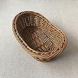 Cfslp Bandeja de la canasta de pan tejido de mimbre para la bandeja de la sirva para el almacenamiento de la fruta del almacenamiento de la mesa de la mesa de la mesa de la cocina organizador de almac