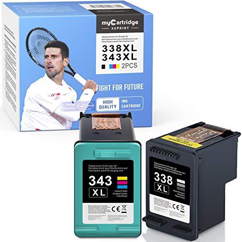 MyCartridge SUPRINT Cartouches d'encre compatibles avec HP 338XL 343XL pour HP Photosmart C3180 2575 2610 2710 8750 8450 Officejet 100 150 6210 7310 7410 Deskjet 5740 6540 6620 9800 PSC 2355
