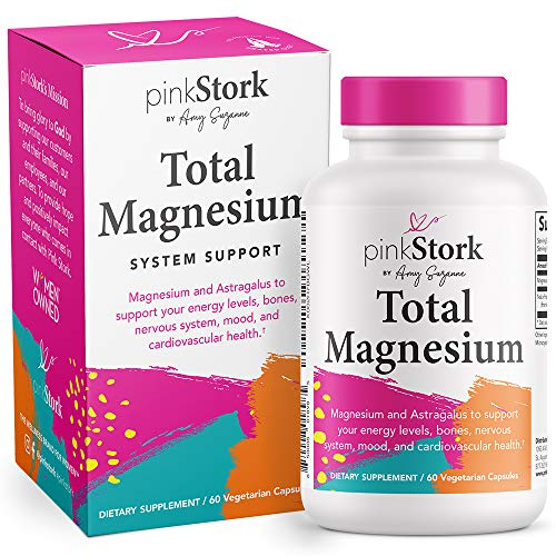 Pink Stork Total Magnesium: Magnesium Supplement, Astragalus for Women to Support Energy Levels, Mood + Calm, Nervous System, and Cardiovascular Health, Women-Owned, 60 Capsules