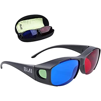 BIAL 2 Pack Red-Blue 3D Glasses with Case Glassese Cloth Cyan Anaglyph Simple Style 3D Movie Game- Extra Upgrade